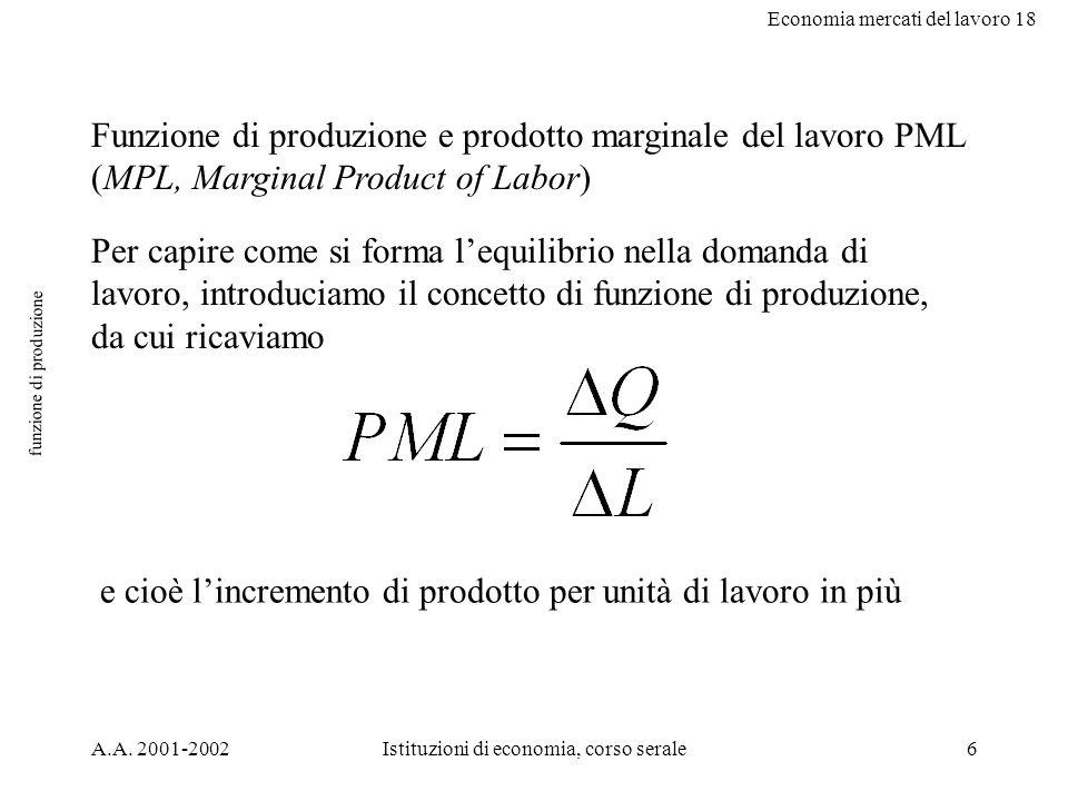 Economia mercati del lavoro 18 A.A. 2001-2002Istituzioni di economia, corso serale6 funzione di produzione Funzione di produzione e prodotto marginale