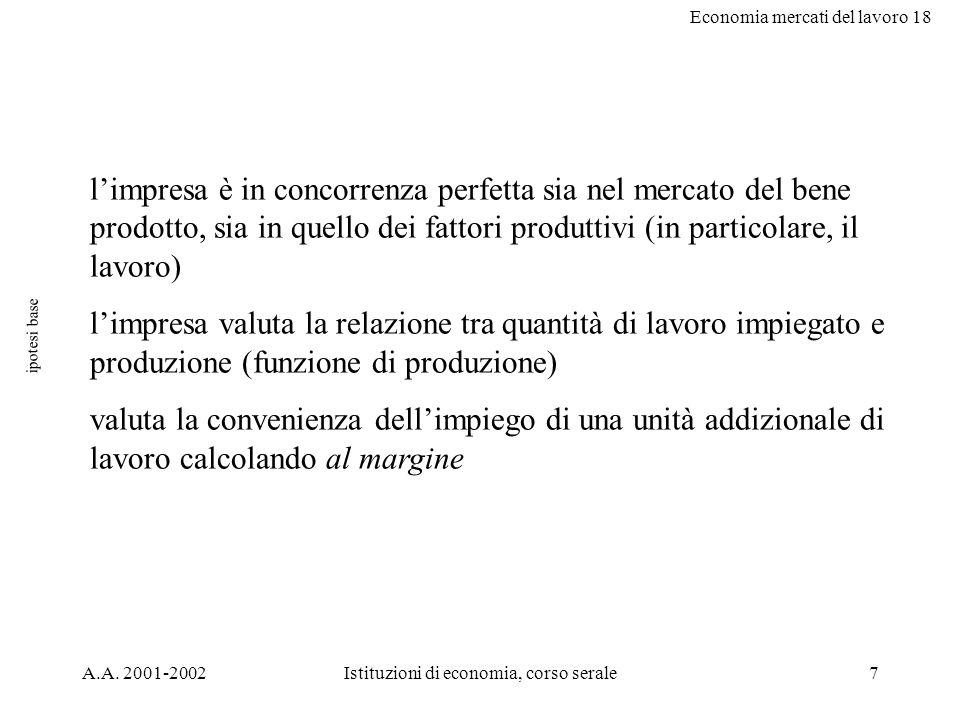 Economia mercati del lavoro 18 A.A. 2001-2002Istituzioni di economia, corso serale7 ipotesi base limpresa è in concorrenza perfetta sia nel mercato de