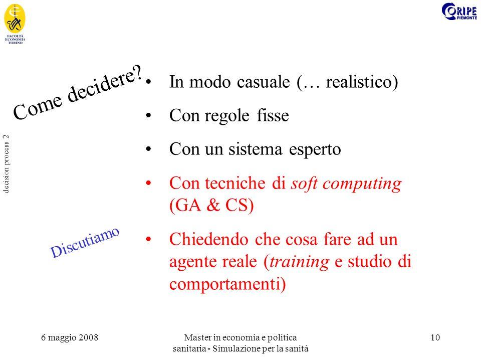 6 maggio 2008Master in economia e politica sanitaria - Simulazione per la sanità 10 decision process 2 In modo casuale (… realistico) Con regole fisse