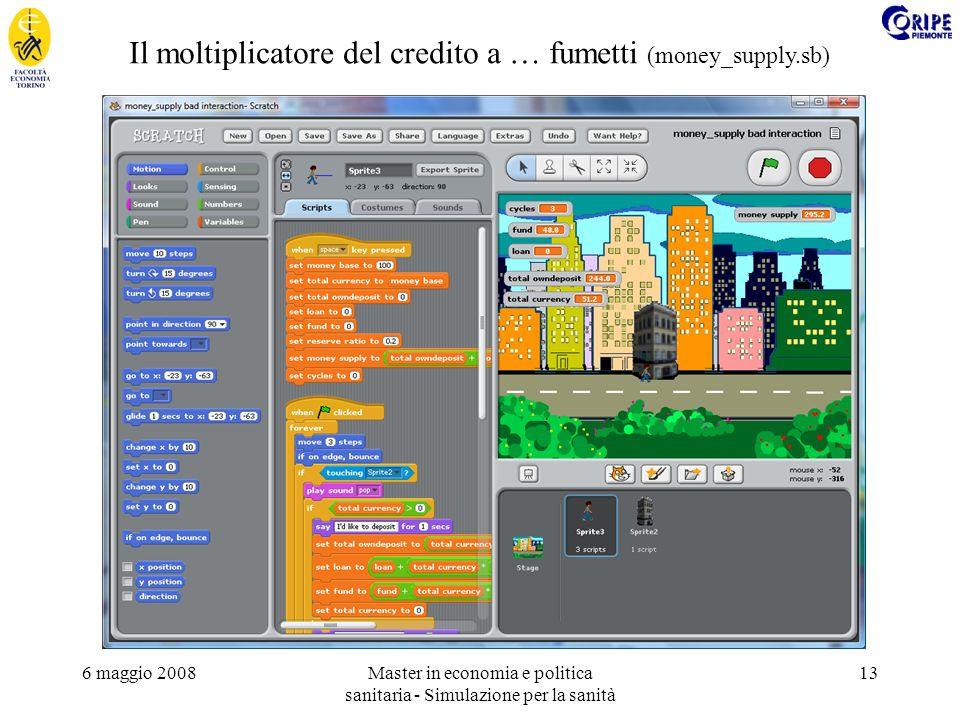 6 maggio 2008Master in economia e politica sanitaria - Simulazione per la sanità 13 Il moltiplicatore del credito a … fumetti (money_supply.sb)