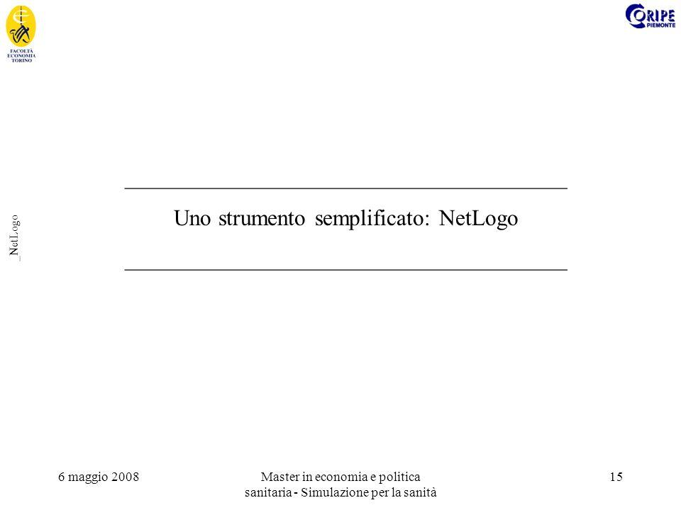 6 maggio 2008Master in economia e politica sanitaria - Simulazione per la sanità 15 _NetLogo _______________________________________ Uno strumento semplificato: NetLogo _______________________________________