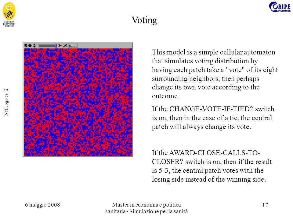 6 maggio 2008Master in economia e politica sanitaria - Simulazione per la sanità 17 NetLogo es. 2 This model is a simple cellular automaton that simul