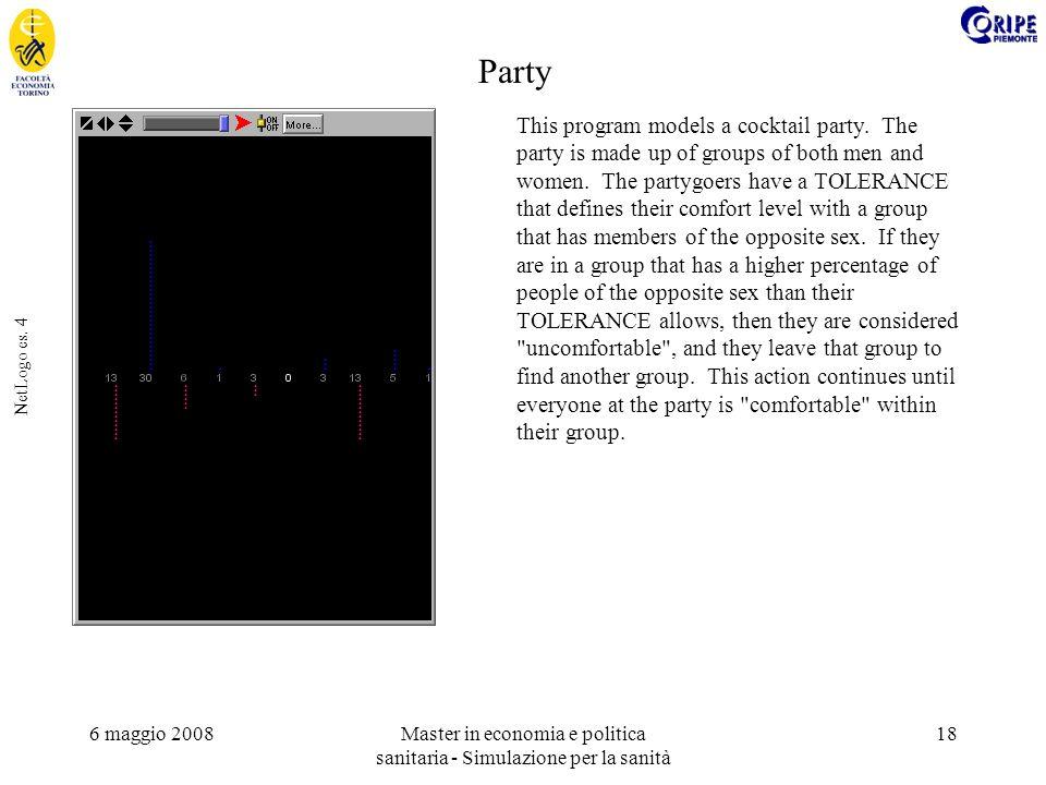 6 maggio 2008Master in economia e politica sanitaria - Simulazione per la sanità 18 NetLogo es. 4 This program models a cocktail party. The party is m