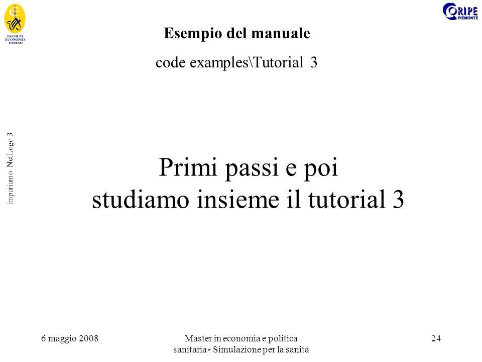 6 maggio 2008Master in economia e politica sanitaria - Simulazione per la sanità 24 impariamo NetLogo 3 Esempio del manuale code examples\Tutorial 3 P