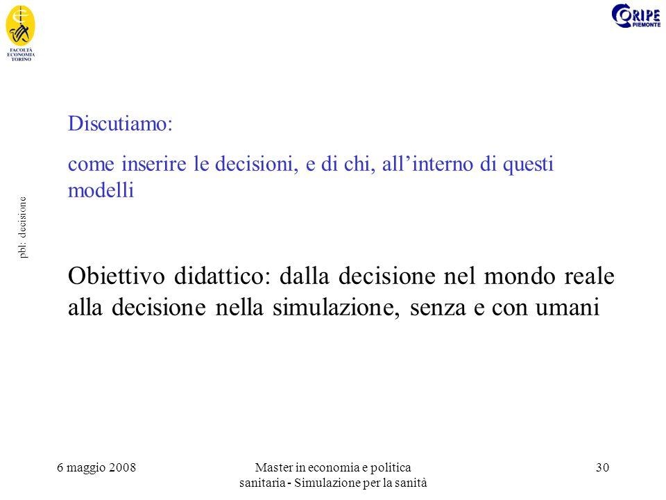 6 maggio 2008Master in economia e politica sanitaria - Simulazione per la sanità 30 pbl: decisione Discutiamo: come inserire le decisioni, e di chi, a