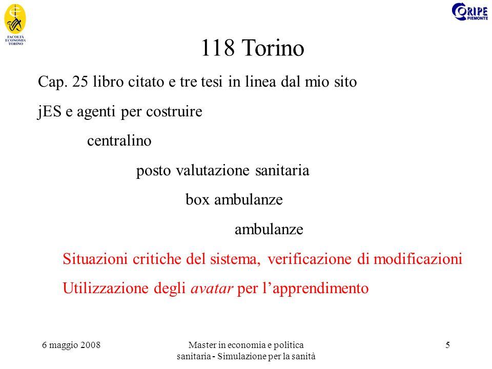6 maggio 2008Master in economia e politica sanitaria - Simulazione per la sanità 5 118 Torino Cap. 25 libro citato e tre tesi in linea dal mio sito jE