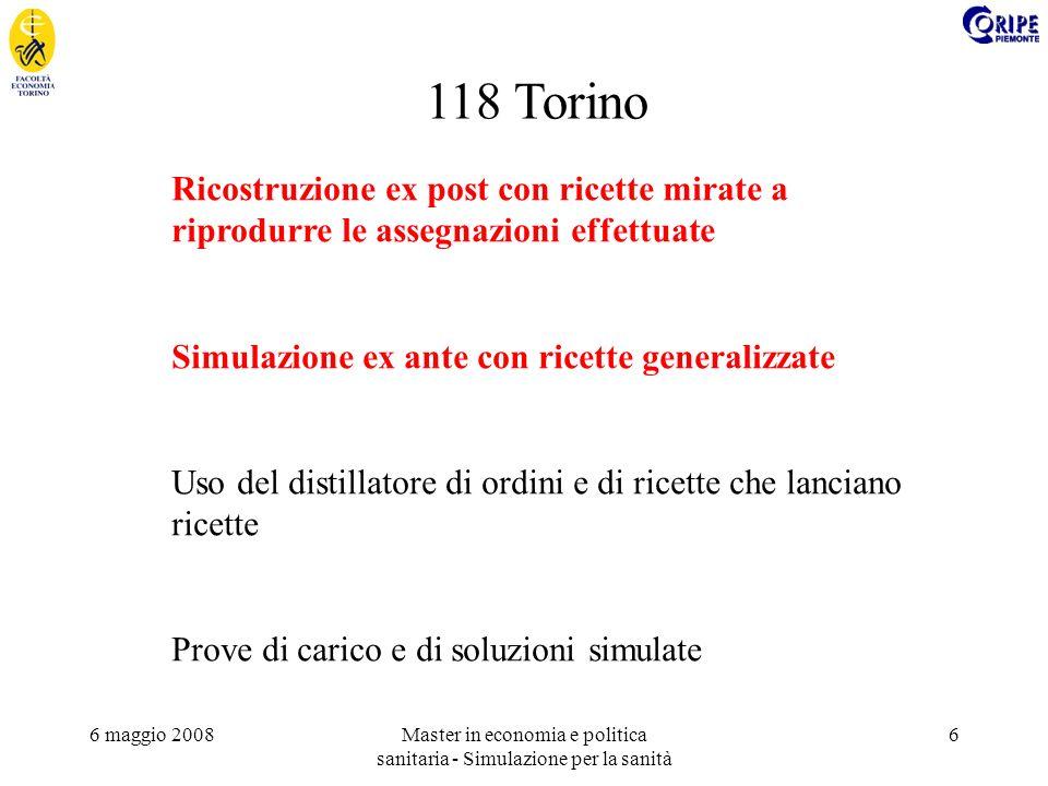 6 maggio 2008Master in economia e politica sanitaria - Simulazione per la sanità 6 118 Torino Ricostruzione ex post con ricette mirate a riprodurre le