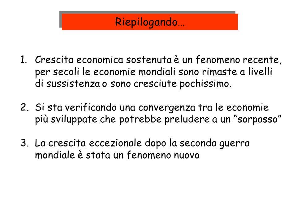 1.Crescita economica sostenuta è un fenomeno recente, per secoli le economie mondiali sono rimaste a livelli di sussistenza o sono cresciute pochissim
