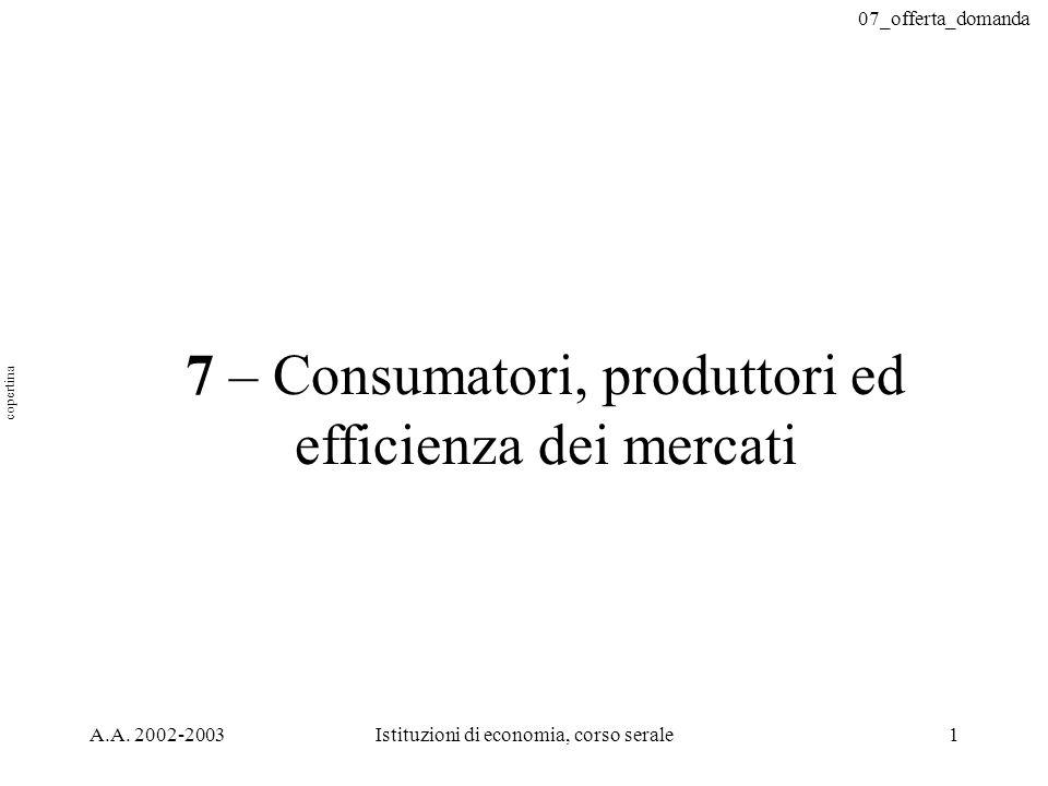07_offerta_domanda A.A. 2002-2003Istituzioni di economia, corso serale1 7 – Consumatori, produttori ed efficienza dei mercati copertina