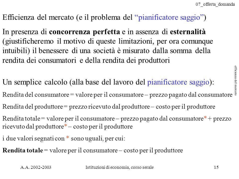 07_offerta_domanda A.A. 2002-2003Istituzioni di economia, corso serale15 Efficienza del mercato (e il problema del pianificatore saggio) In presenza d