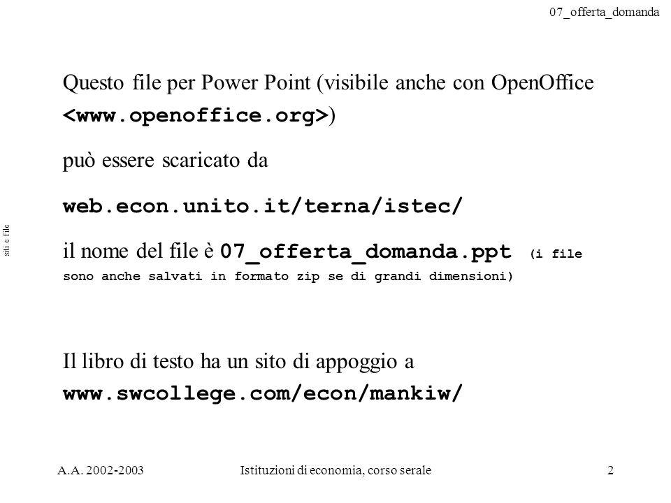 07_offerta_domanda A.A. 2002-2003Istituzioni di economia, corso serale2 Questo file per Power Point (visibile anche con OpenOffice ) può essere scaric