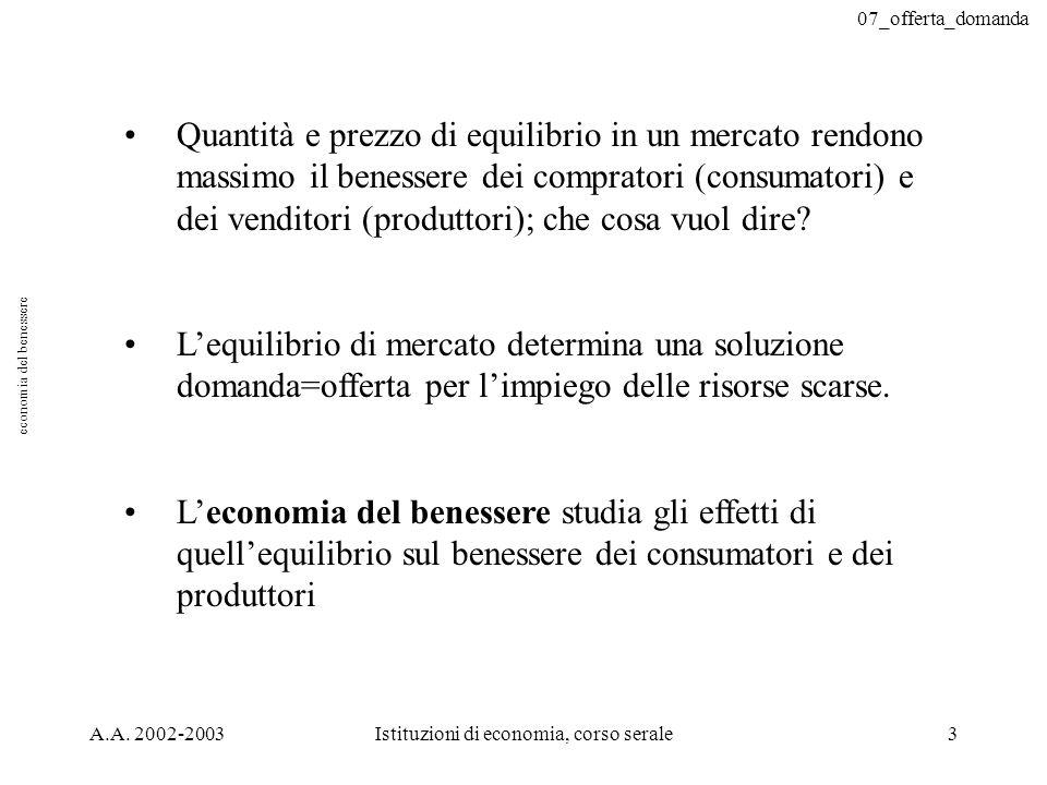 07_offerta_domanda A.A. 2002-2003Istituzioni di economia, corso serale3 Quantità e prezzo di equilibrio in un mercato rendono massimo il benessere dei