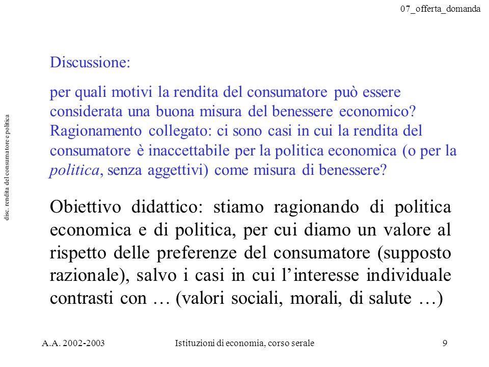 07_offerta_domanda A.A. 2002-2003Istituzioni di economia, corso serale9 Discussione: per quali motivi la rendita del consumatore può essere considerat