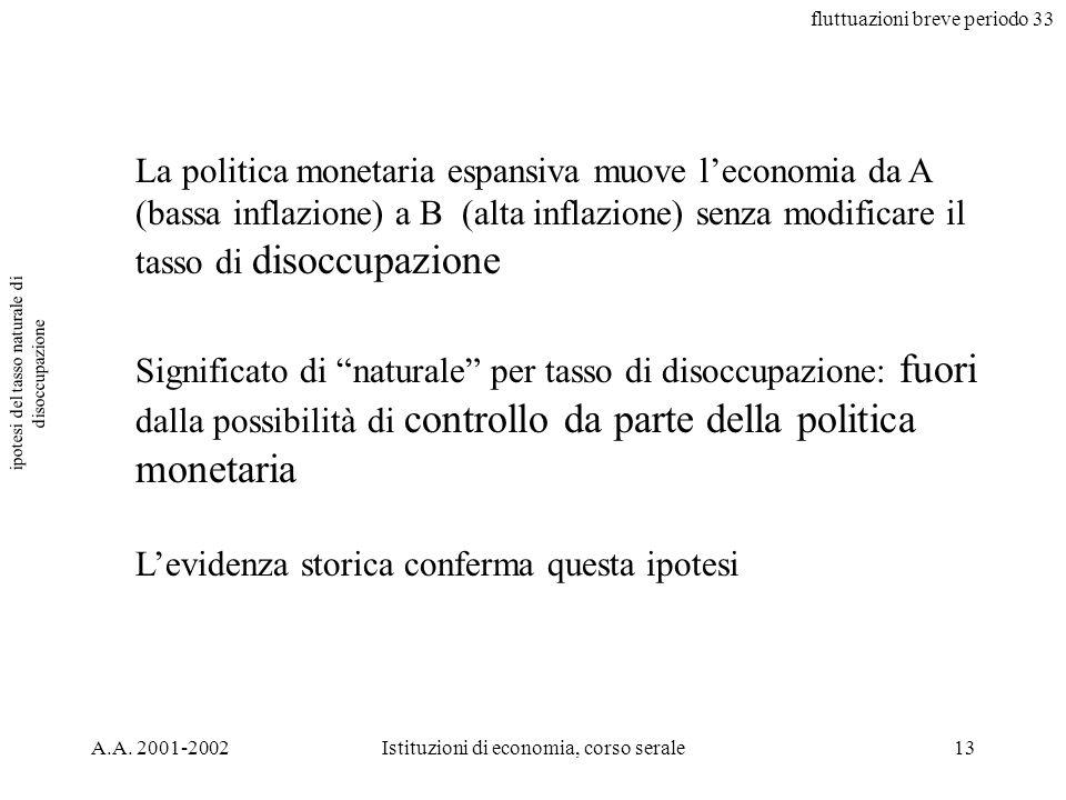 fluttuazioni breve periodo 33 A.A. 2001-2002Istituzioni di economia, corso serale13 ipotesi del tasso naturale di disoccupazione La politica monetaria