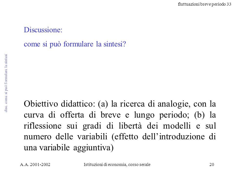 fluttuazioni breve periodo 33 A.A. 2001-2002Istituzioni di economia, corso serale20 disc. come si può formulare la sintesi Discussione: come si può fo