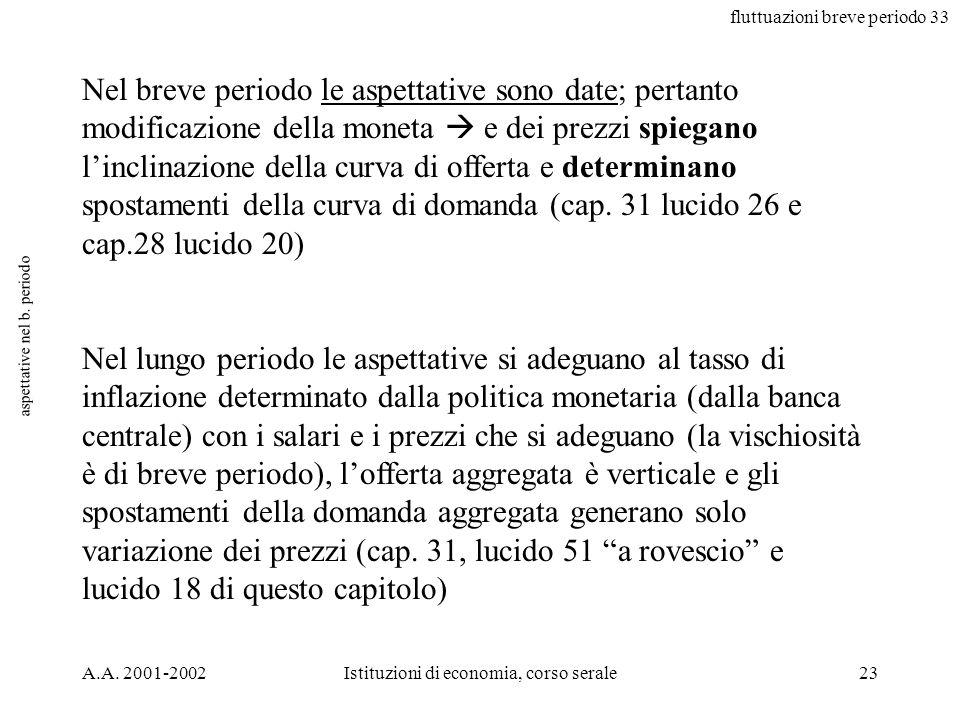 fluttuazioni breve periodo 33 A.A. 2001-2002Istituzioni di economia, corso serale23 aspettative nel b. periodo Nel breve periodo le aspettative sono d