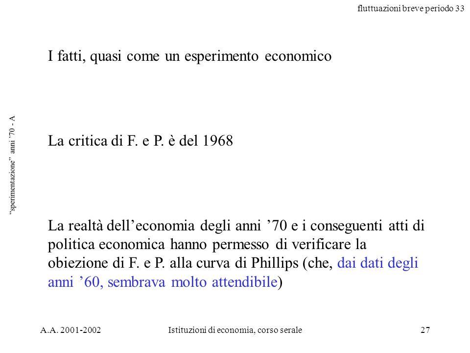 fluttuazioni breve periodo 33 A.A. 2001-2002Istituzioni di economia, corso serale27 sperimentazione anni 70 - A I fatti, quasi come un esperimento eco