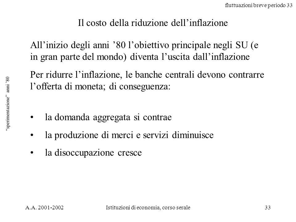 fluttuazioni breve periodo 33 A.A. 2001-2002Istituzioni di economia, corso serale33 sperimentazione anni 80 Allinizio degli anni 80 lobiettivo princip