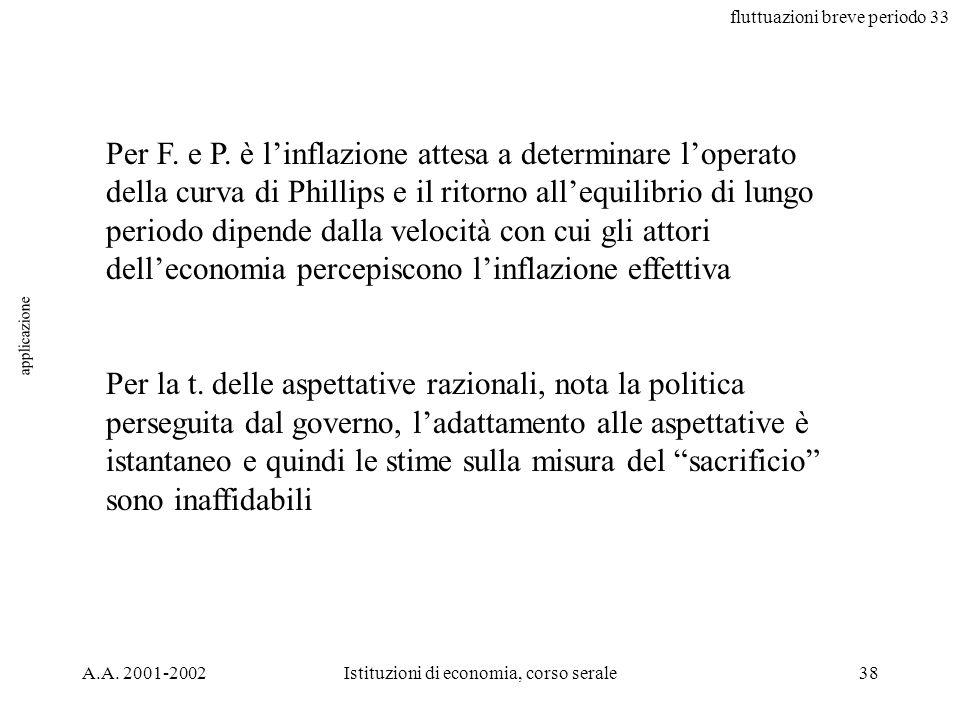 fluttuazioni breve periodo 33 A.A. 2001-2002Istituzioni di economia, corso serale38 applicazione Per F. e P. è linflazione attesa a determinare lopera