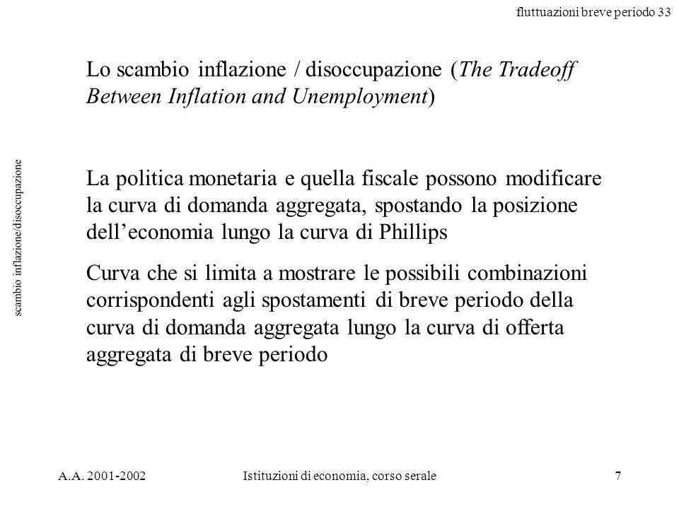 fluttuazioni breve periodo 33 A.A. 2001-2002Istituzioni di economia, corso serale7 scambio inflazione/disoccupazione Lo scambio inflazione / disoccupa