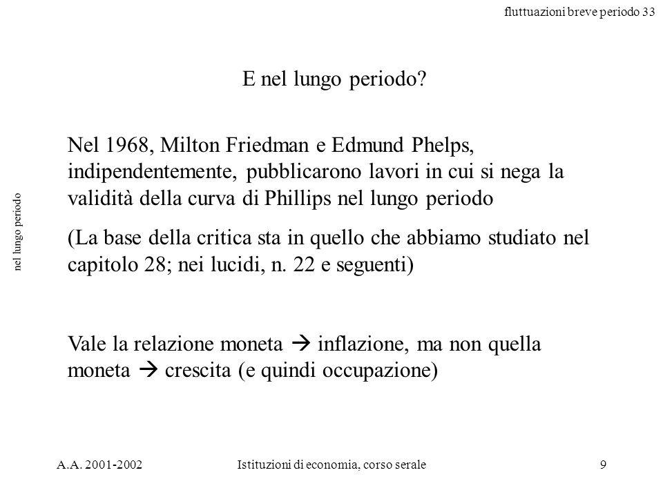 fluttuazioni breve periodo 33 A.A. 2001-2002Istituzioni di economia, corso serale9 nel lungo periodo E nel lungo periodo? Nel 1968, Milton Friedman e