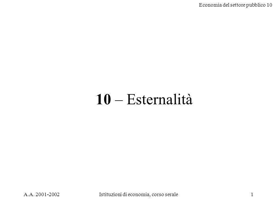 Economia del settore pubblico 10 A.A.