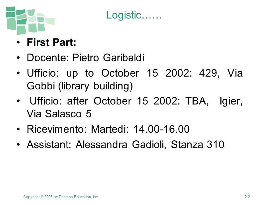 Copyright © 2003 by Pearson Education, Inc.2-3 Orario.
