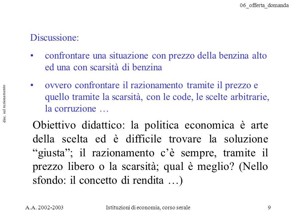 06_offerta_domanda A.A. 2002-2003Istituzioni di economia, corso serale9 Discussione: confrontare una situazione con prezzo della benzina alto ed una c