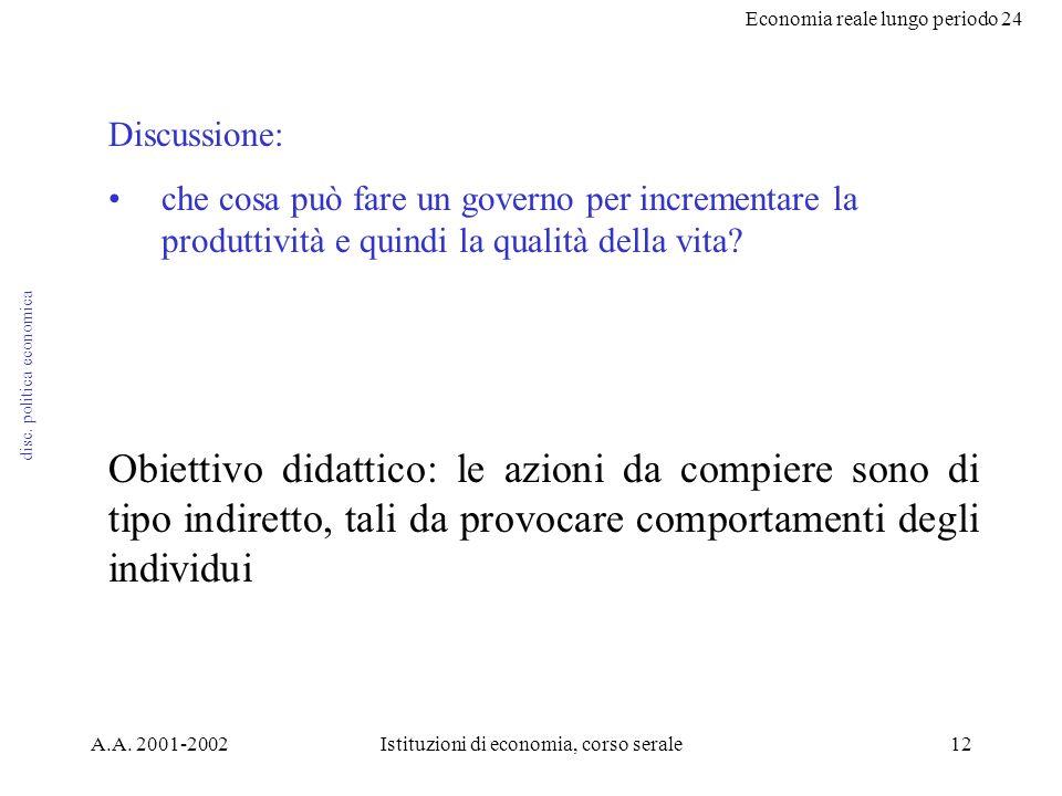 Economia reale lungo periodo 24 A.A. 2001-2002Istituzioni di economia, corso serale12 Discussione: che cosa può fare un governo per incrementare la pr