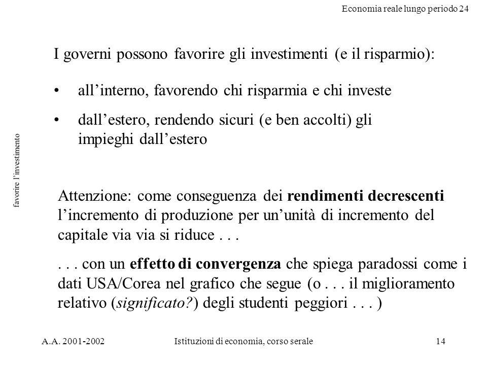 Economia reale lungo periodo 24 A.A. 2001-2002Istituzioni di economia, corso serale14 favorire linvestimento I governi possono favorire gli investimen