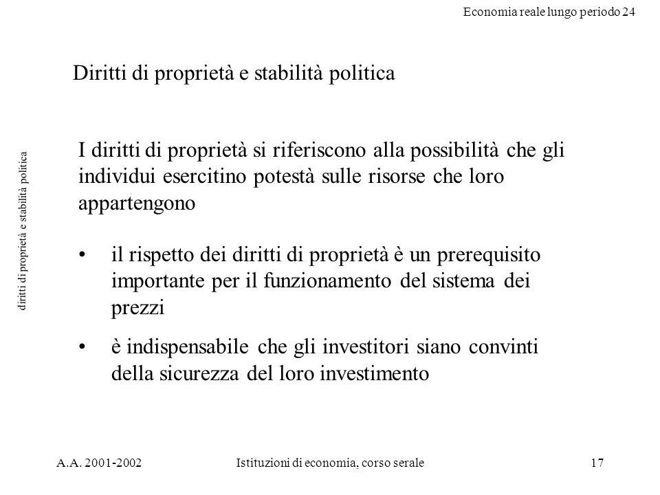 Economia reale lungo periodo 24 A.A. 2001-2002Istituzioni di economia, corso serale17 diritti di proprietà e stabilità politica Diritti di proprietà e