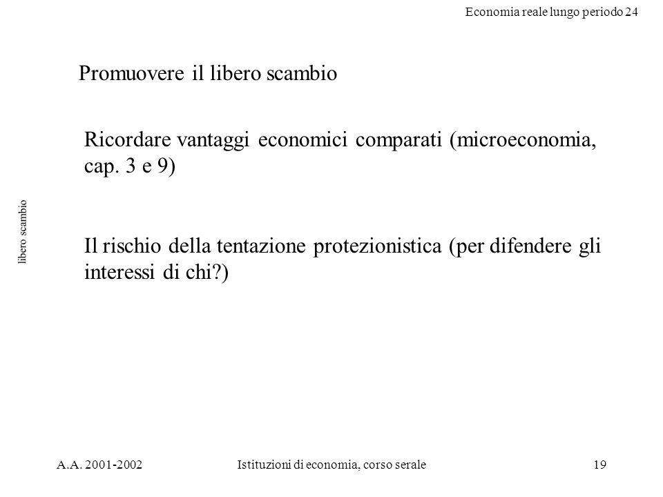 Economia reale lungo periodo 24 A.A. 2001-2002Istituzioni di economia, corso serale19 libero scambio Promuovere il libero scambio Ricordare vantaggi e