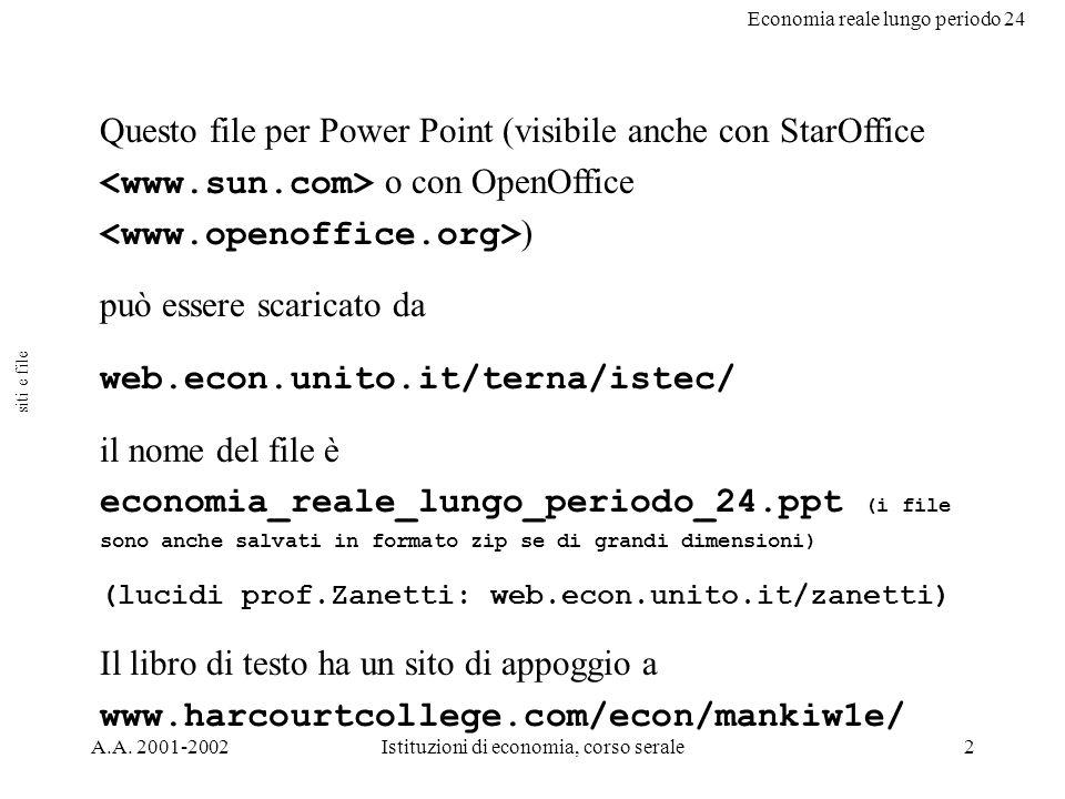 Economia reale lungo periodo 24 A.A. 2001-2002Istituzioni di economia, corso serale2 Questo file per Power Point (visibile anche con StarOffice o con