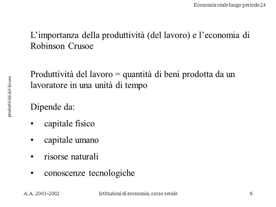 Economia reale lungo periodo 24 A.A. 2001-2002Istituzioni di economia, corso serale6 produttività del lavoro Limportanza della produttività (del lavor