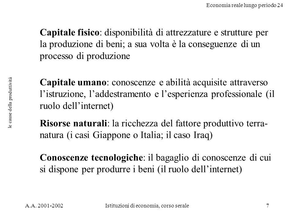 Economia reale lungo periodo 24 A.A. 2001-2002Istituzioni di economia, corso serale7 le cause della produttività Capitale fisico: disponibilità di att
