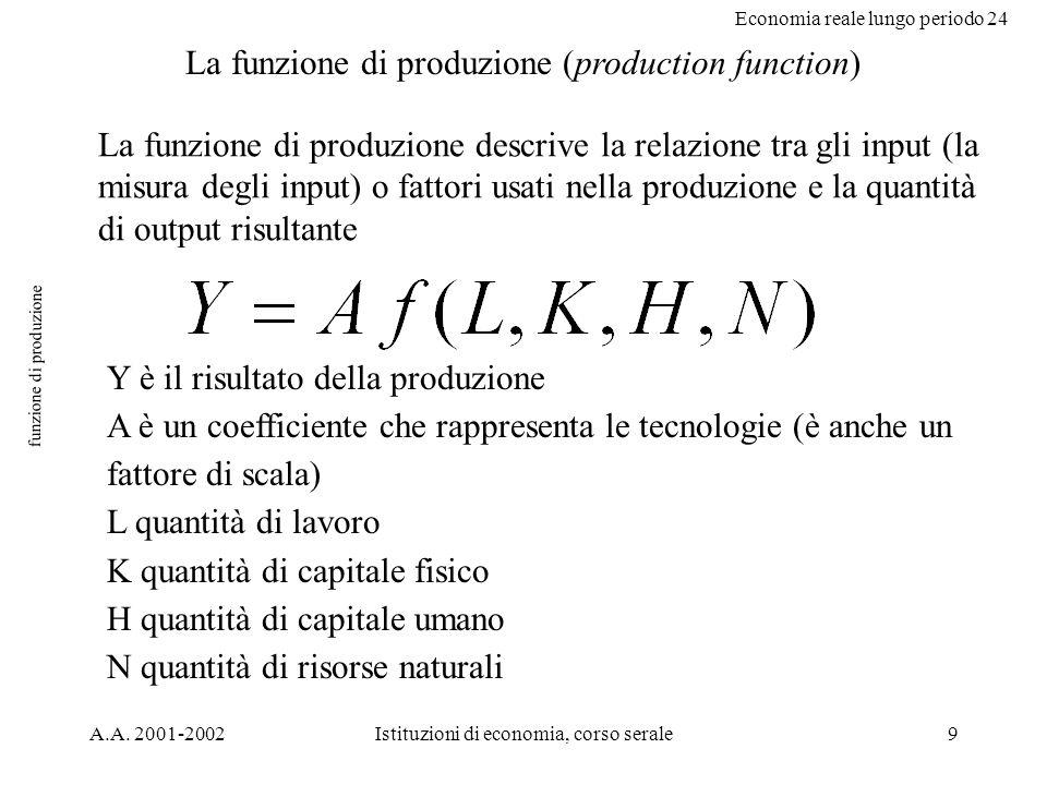 Economia reale lungo periodo 24 A.A. 2001-2002Istituzioni di economia, corso serale9 funzione di produzione La funzione di produzione (production func