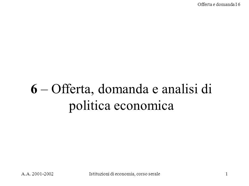 Offerta e domanda I 6 A.A. 2001-2002Istituzioni di economia, corso serale1 6 – Offerta, domanda e analisi di politica economica