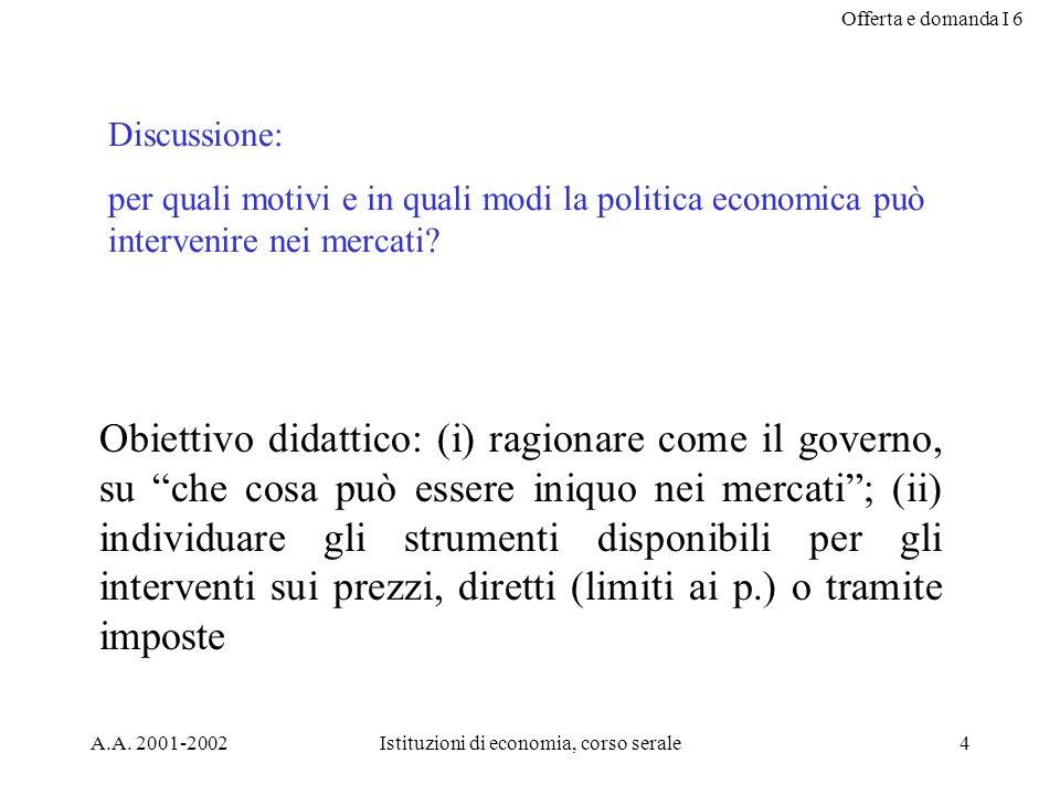 Offerta e domanda I 6 A.A. 2001-2002Istituzioni di economia, corso serale4 Discussione: per quali motivi e in quali modi la politica economica può int