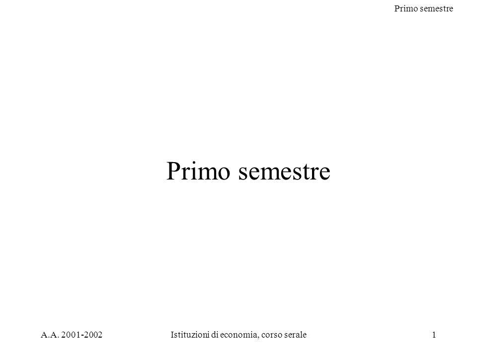 Primo semestre A.A. 2001-2002Istituzioni di economia, corso serale1 Primo semestre