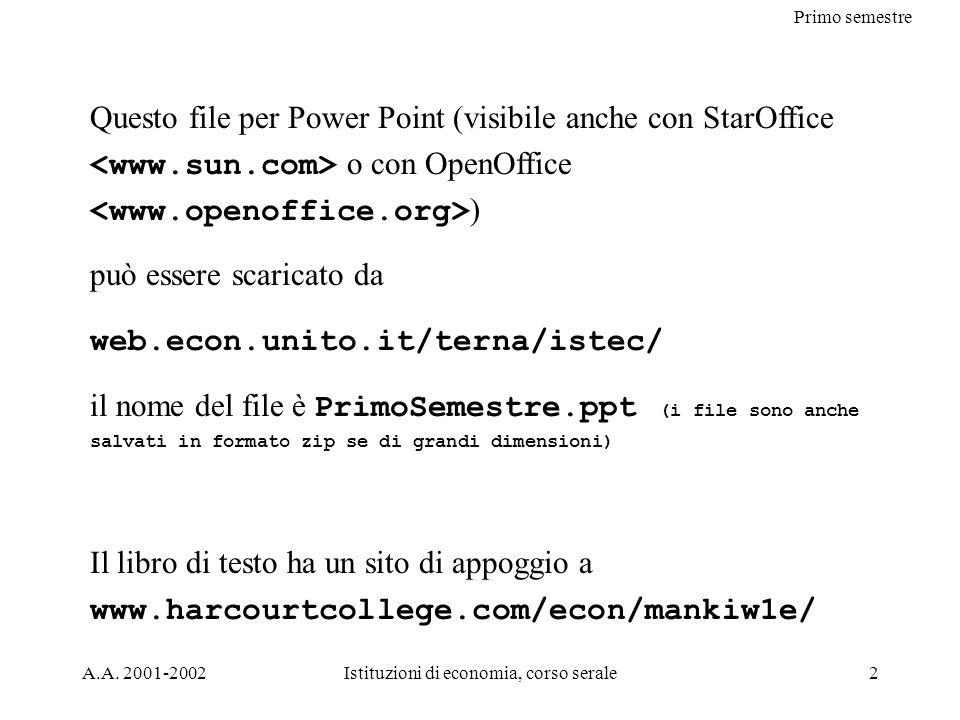 A.A. 2001-2002Istituzioni di economia, corso serale2 Questo file per Power Point (visibile anche con StarOffice o con OpenOffice ) può essere scaricat