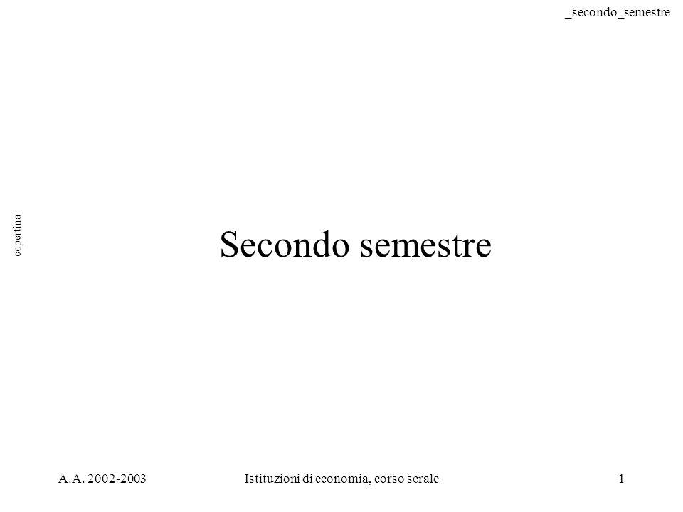 _secondo_semestre A.A. 2002-2003Istituzioni di economia, corso serale1 Secondo semestre copertina