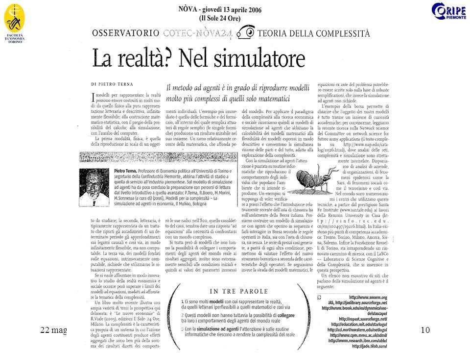22 maggio 2008Master in economia e politica sanitaria - Simulazione per la sanità 10