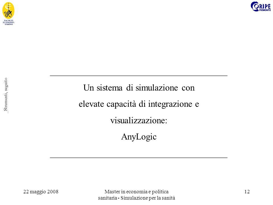 22 maggio 2008Master in economia e politica sanitaria - Simulazione per la sanità 12 _Strumenti, seguito _______________________________________ Un sistema di simulazione con elevate capacità di integrazione e visualizzazione: AnyLogic _______________________________________