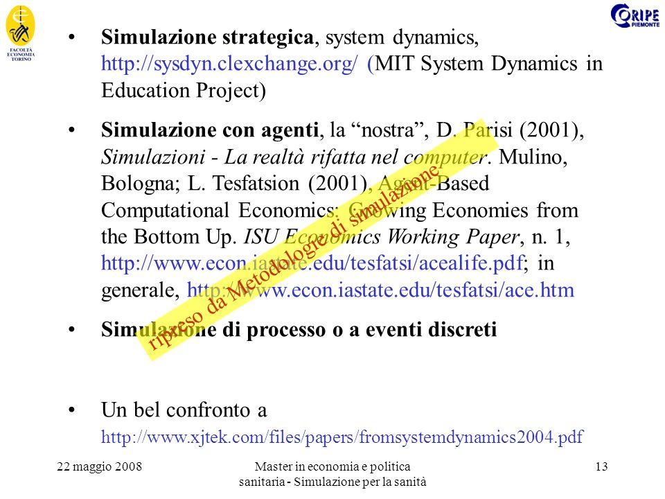 22 maggio 2008Master in economia e politica sanitaria - Simulazione per la sanità 13 Simulazione strategica, system dynamics, http://sysdyn.clexchange.org/ (MIT System Dynamics in Education Project) Simulazione con agenti, la nostra, D.