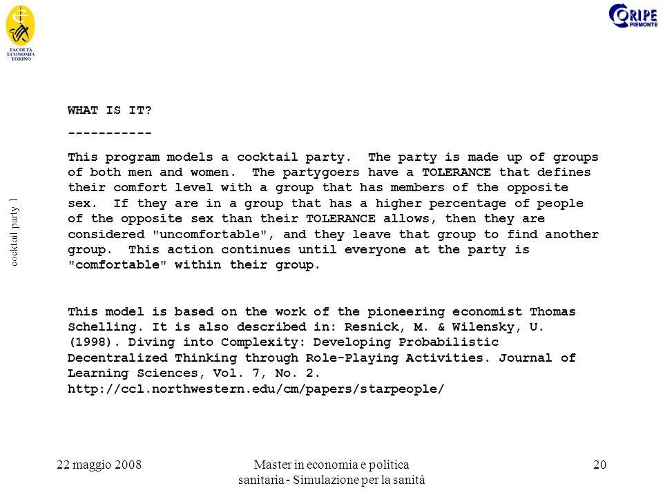 22 maggio 2008Master in economia e politica sanitaria - Simulazione per la sanità 20 cocktail party 1 WHAT IS IT? ----------- This program models a co