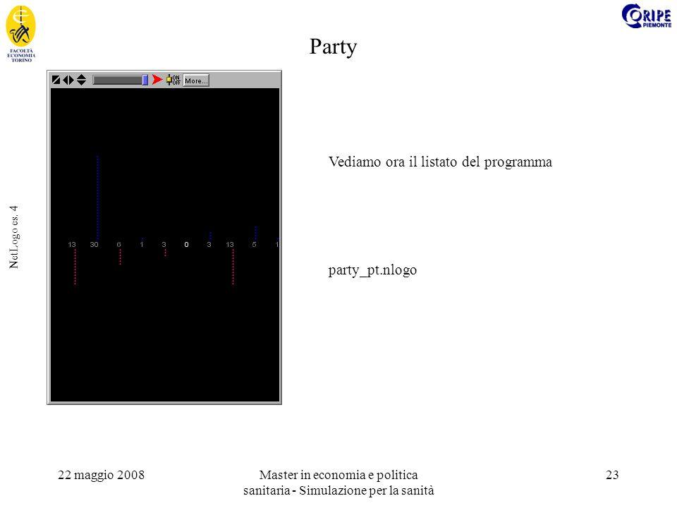 22 maggio 2008Master in economia e politica sanitaria - Simulazione per la sanità 23 NetLogo es.
