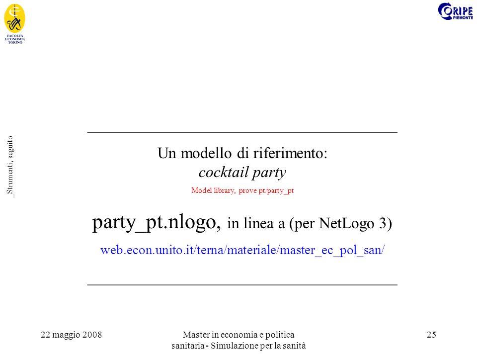 22 maggio 2008Master in economia e politica sanitaria - Simulazione per la sanità 25 _Strumenti, seguito _______________________________________ Un modello di riferimento: cocktail party Model library, prove pt/party_pt party_pt.nlogo, in linea a (per NetLogo 3) web.econ.unito.it/terna/materiale/master_ec_pol_san/ _______________________________________
