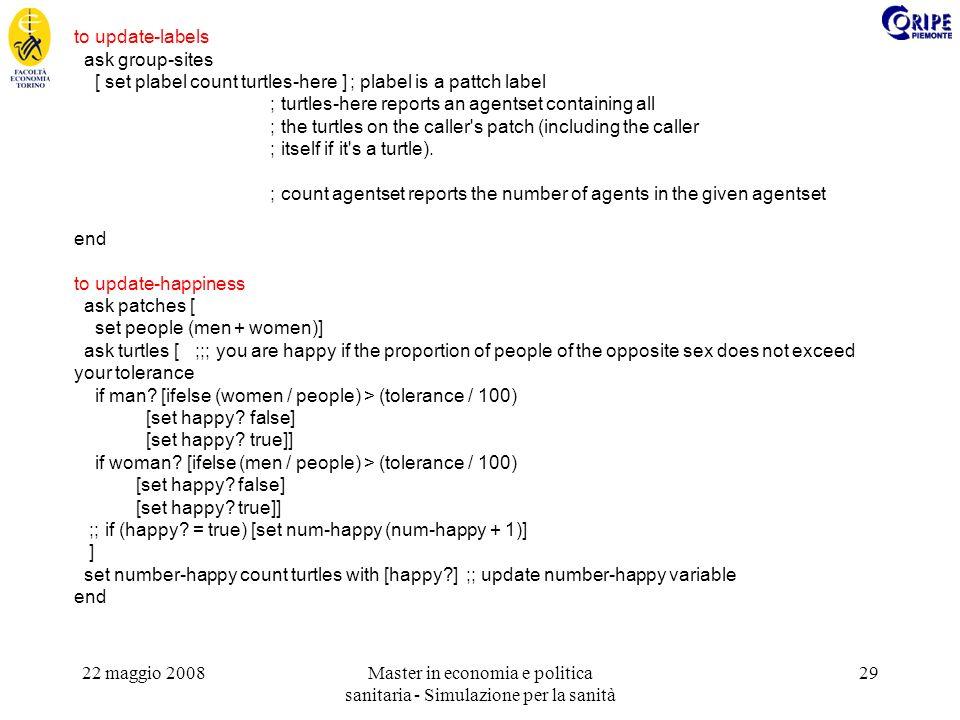 22 maggio 2008Master in economia e politica sanitaria - Simulazione per la sanità 29 to update-labels ask group-sites [ set plabel count turtles-here