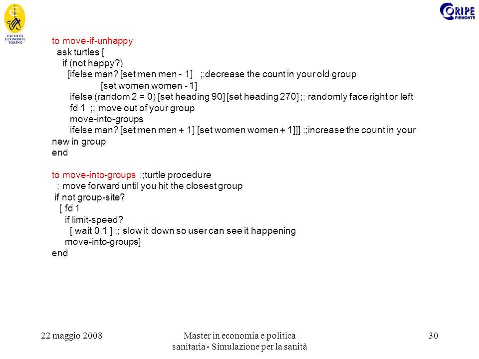 22 maggio 2008Master in economia e politica sanitaria - Simulazione per la sanità 30 to move-if-unhappy ask turtles [ if (not happy?) [ifelse man.