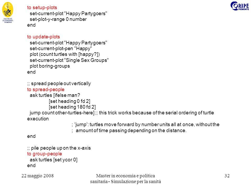 22 maggio 2008Master in economia e politica sanitaria - Simulazione per la sanità 32 to setup-plots set-current-plot Happy Partygoers set-plot-y-range 0 number end to update-plots set-current-plot Happy Partygoers set-current-plot-pen Happy plot (count turtles with [happy?]) set-current-plot Single Sex Groups plot boring-groups end ;; spread people out vertically to spread-people ask turtles [ifelse man.